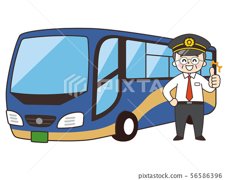 Tourist middle-aged man and sightseeing bus 56586396