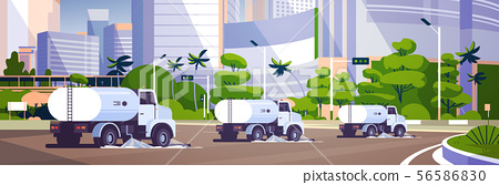 street sweeper trucks washing asphalt with water industrial vehicle cleaning machines urban road 56586830