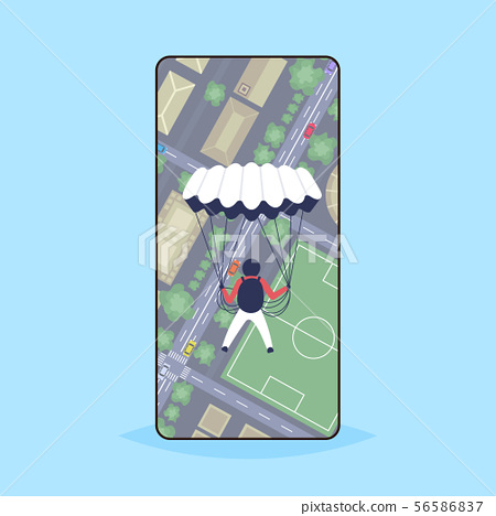 skydiver flying with parachute over modern city with buildings streets football field and car on 56586837
