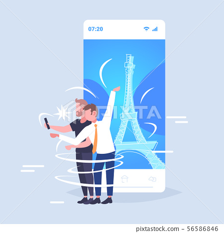 men taking selfie photo on cellphone camera guys couple standing together travel concept paris city 56586846