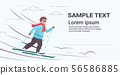 fat obese skier man sliding down overweight guy skiing winter activity weight loss concept flat 56586885