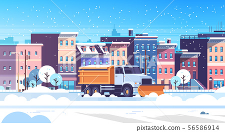 snow plow truck cleaning urban snowy road winter street snow removal concept modern city buildings 56586914