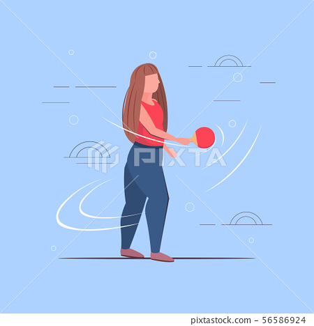 fat obese girl holding racket overweight woman playing ping pong table tennis weight loss concept 56586924