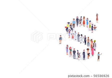 businesspeople crowd gathering in letter S shape English alphabet concept mix race men women casual 56586926