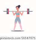 sporty girl lifting weights doing squats with barbell attractive woman training workout healthy 56587075