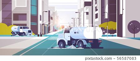 street sweeper trucks washing asphalt with water industrial vehicle cleaning machines urban road 56587083