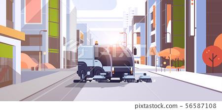 modern street sweeper truck washing asphalt industrial vehicle cleaning machine urban road service 56587108