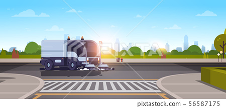modern city street sweeper truck washing asphalt on crossroad industrial vehicle cleaning machine 56587175