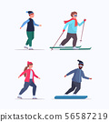 set fat obese people skating skiing and snowboarding overweight mix race men women different winter 56587219