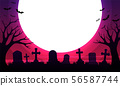 scary cemetery with graves and the moon 56587744