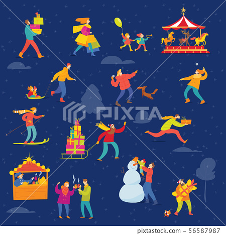 Vector Christmas winter design for holiday with abstract people doing winter activities. 56587987