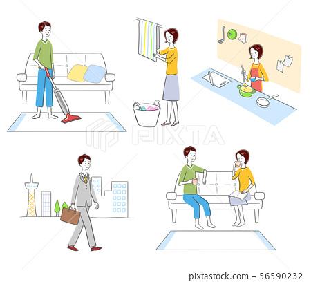 Housework work couple set person illustration 56590232