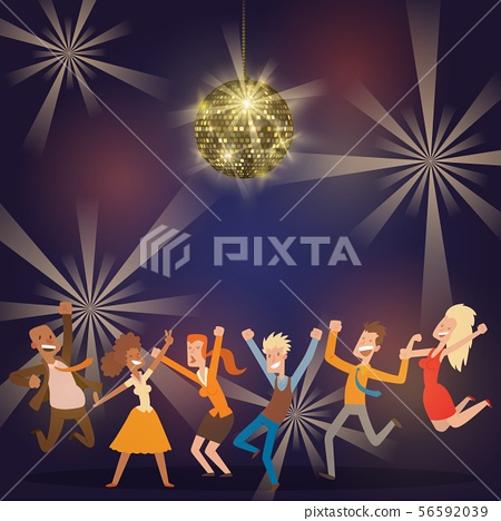 Discoball in bar banner, poster vector illustration. People dancing at party. Women and men having 56592039