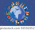 Children of different nationalities around earth banner vector illustration. Kids characters in 56592052