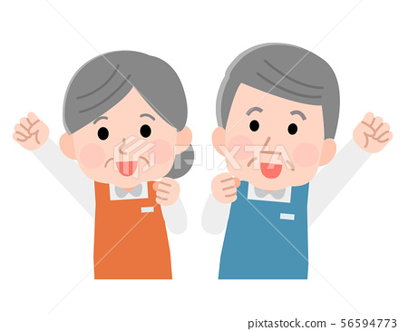 직업 앞치마 직원 상반신 수석 남녀 선없이 일러스트 56594773