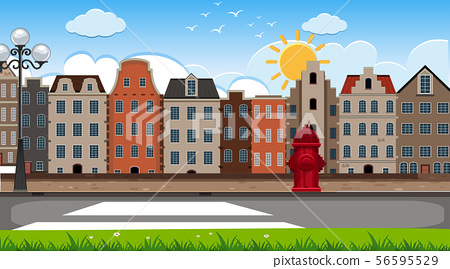 An outdoor scene with Amsterdam house 56595529