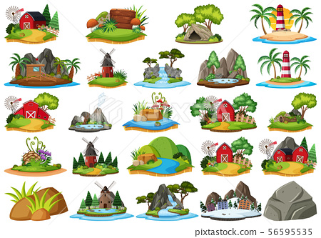 Large group of isolated objects theme - island 56595535