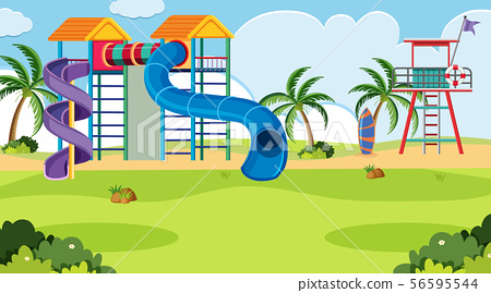 An outdoor scene with playground 56595544