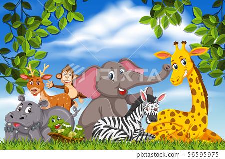 Cute animals in nature scene 56595975