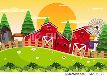 An outdoor scene with farm 56595977