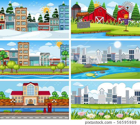 A set of outdoor scene including building 56595989
