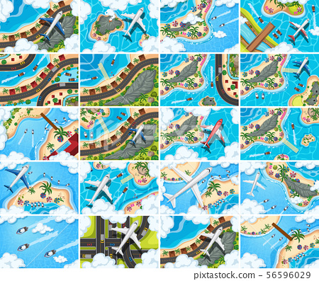 Set of aerial view scenes 56596029