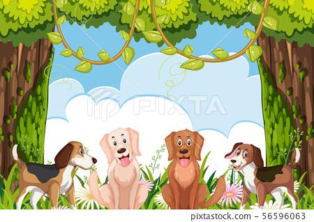 Cute dogs in jungle scene 56596063
