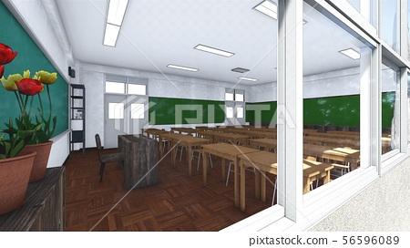 Elementary School Classroom No People Illustration 58