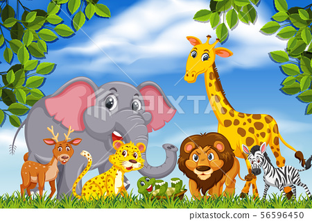 Aniamls in nature scene 56596450