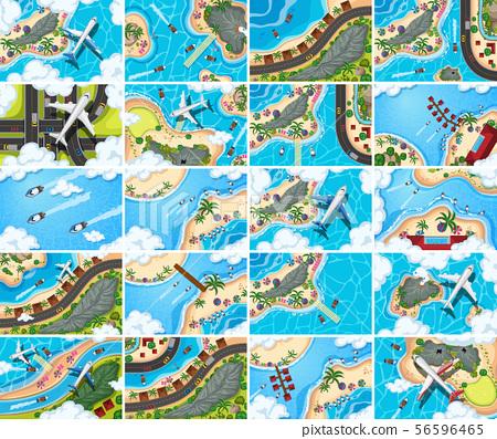 Set of aerial view scenes 56596465
