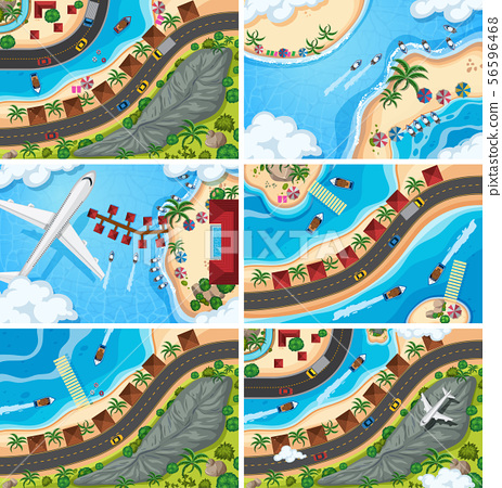 Set of aerial view scenes 56596468
