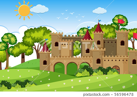An outdoor scene with castle 56596478