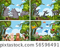 Set of various animals in nature scenes 56596491