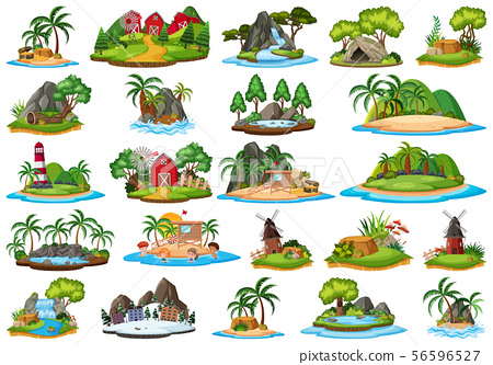 Set of isolated objects theme - islands 56596527