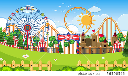 An outdoor scene with circus 56596546