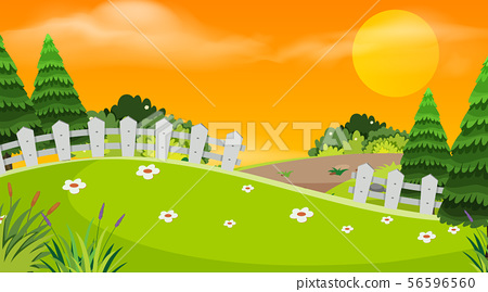 Background design of landscape with park at sunset 56596560