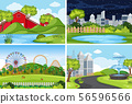 A set of outdoor scene including rural house 56596566