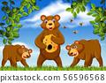 Honey bears in jungle scene 56596568