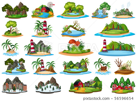 Set Of Different Plants And Landscapes Stock Illustration