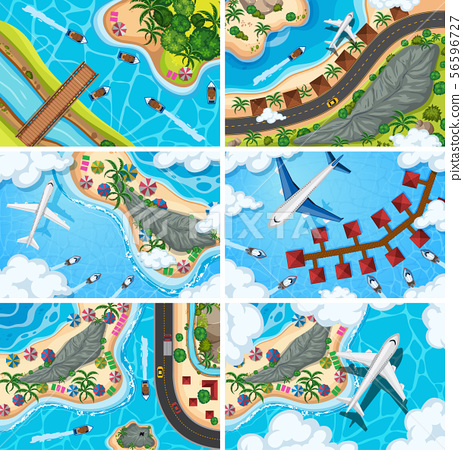 Set of aerial view scenes 56596727