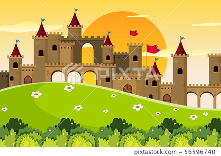 An outdoor scene with castle 56596740