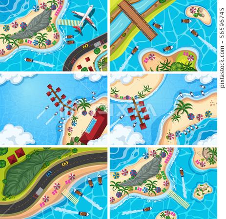 Set of aerial view scenes 56596745