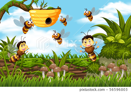 Bees and beehive in jungle scene 56596803
