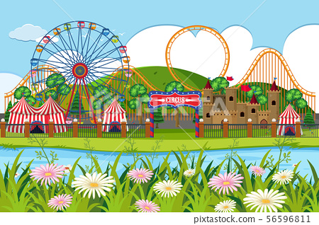An outdoor scene with circus 56596811