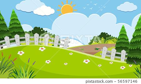 Landscape background design of park at daytime 56597146