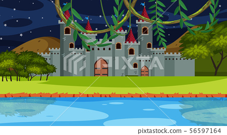 An outdoor scene with castle 56597164