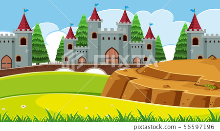 An outdoor scene with castle 56597196