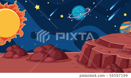 Background design of landscape with planets in 56597199