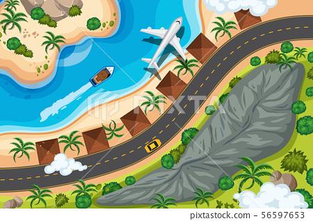Set of aerial view scenes 56597653