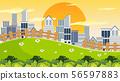 City in park scene 56597883